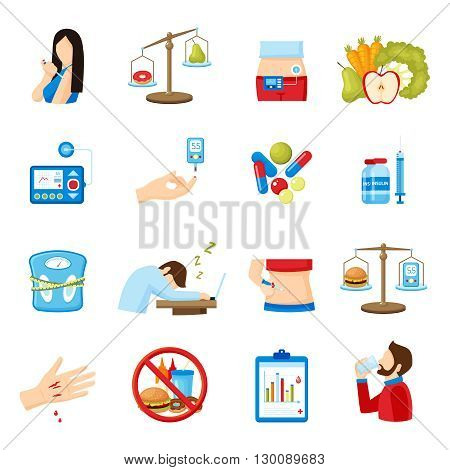 Diabetes signs and symptoms flat icons collection with healthy lifestyle and  insulin injection abstract isolated vector illustration