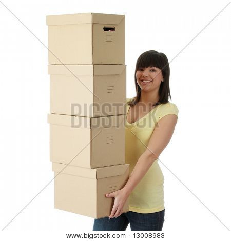 Young beautiful woman with packages for house moving (isolated on white)