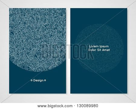 Vector design template. Modern card template. It can be used as an invitation cover greeting card or banner. Artistic abstract design for your business. Dark cerulean color
