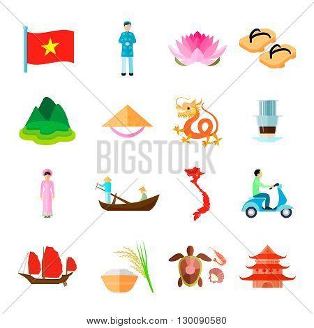 Vietnam Icons Set. Vietnam Travel Vector Illustration. Vietnam  Tourism Flat Symbols. Vietnamese Design Set. Vietnam Isolated Set.