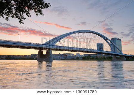 BRATISLAVA, SLOVAKIA - MAY 16, 2016: Apollo bridge over river Danube in Bratislava, Slovakia on May 16, 2016.