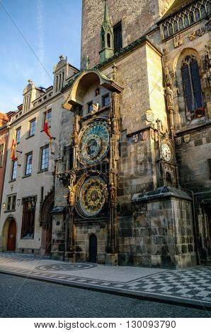 Astronomical Clock (orloj) In The Old Town Of Prague. Czech Republic
