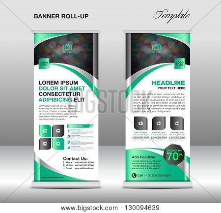 Roll up banner stand template stand design banner template Green banner advertisement flyer template