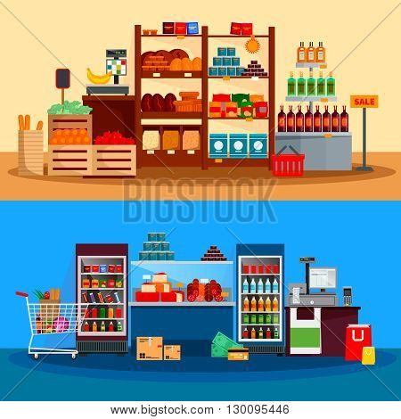Interior of supermarket banners with beverages cheese meat in refrigerators scales and checkout counter isolated vector illustration