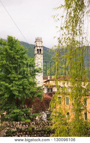 Bell tower of the San Giacomo Church in Polcenigo Pordenone. Italy