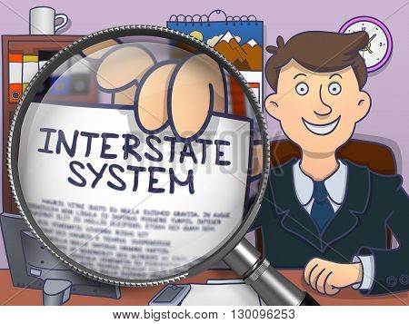 Interstate System on Paper in Business Man's Hand to Illustrate a Business Concept. Closeup View through Magnifying Glass. Multicolor Modern Line Illustration in Doodle Style.
