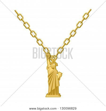 Statue Of Liberty Necklace Gold Decoration On Jewelry. Expensive Jewelry For American People. Access
