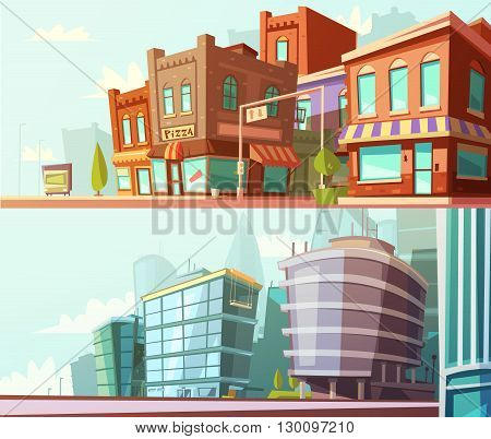 Modern and historical city districts street view day skyline 2 horizontal banners set cartoon isolated vector illustration