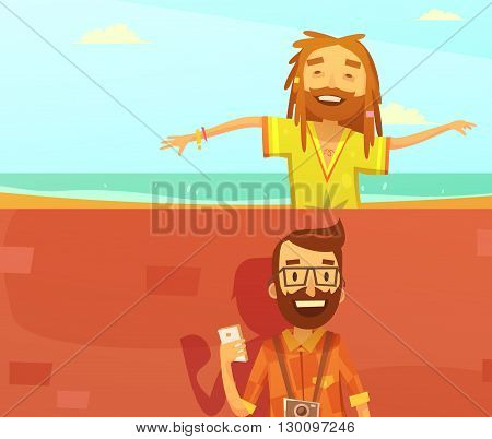 Subcultures horizontal cartoon banners set with hipster and rastafarian isolated vector illustration