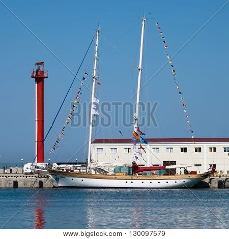 SOCHI, RUSSIA - 16 MAY, 2014. The Turkish schooner Bodrum. Large sailing ships in the port of Sochi.