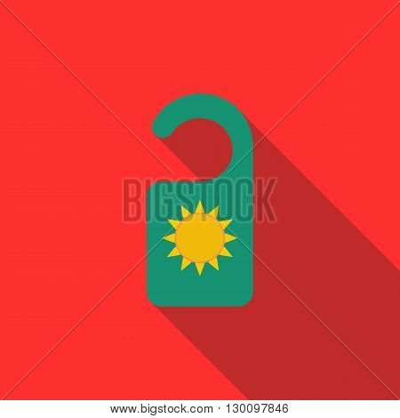 Tag for door icon in flat style with long shadow. Hotel and leisure sign