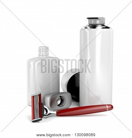 Safety razor shaving foam and aftershave balm on white background, 3D illustration