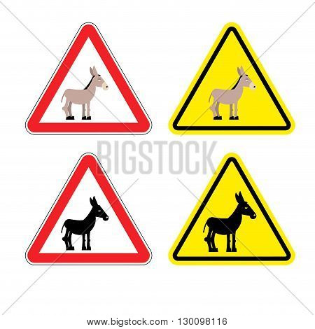 Warning Sign Attention Donkey. Dangers Yellow Sign Stupid Man. Ass On Red Triangle. Set Of Road Sign