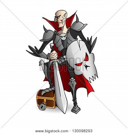 Russian fairy tale Tsar Koshey armored with the sword and shield guards the chest where his death is hidden poster