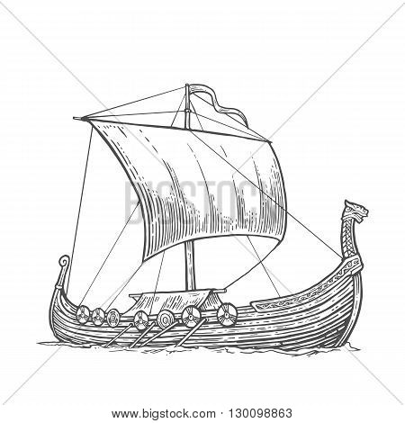 Drakkar floating on the sea waves.  Hand drawn design element sailing ship. Vintage vector engraving illustration for poster, label, postmark. Isolated on white background