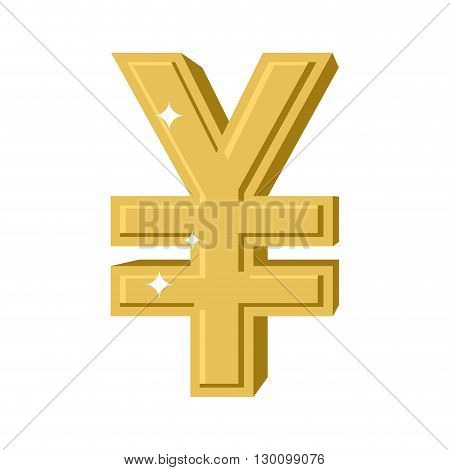 Golden Chinese Yen. Symbol Of Money In China. Cash Sign In China From Yellow Precious Metal. Financi