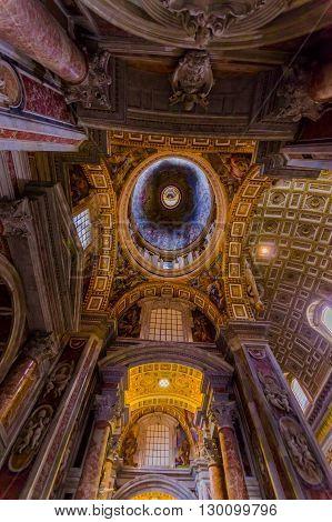 VATICAN, ITALY - JUNE 13, 2015: Roof view of Saint Peter Basilica at Vaticano, indoor view, spectacular work.