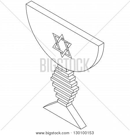 Judaic bowl icon in isometric 3d style isolated on white background