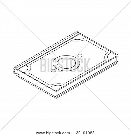 Koran icon, isometric 3d style. Holy Quran islam symbol. Black illustration on white