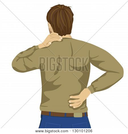 Young man rubbing his painful back. Pain relief, chiropractic concept on white background