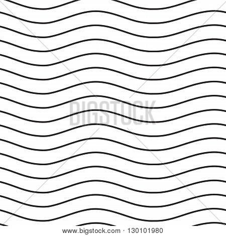 Universal Seamless Linear Striped Wave Abstract Pattern In Black