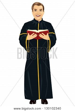 Mature christian priest in cassock holding a holy bible on white background