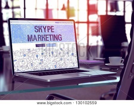 Skype Marketing Concept Closeup on Landing Page of Laptop Screen in Modern Office Workplace. Toned Image with Selective Focus. 3D Render.