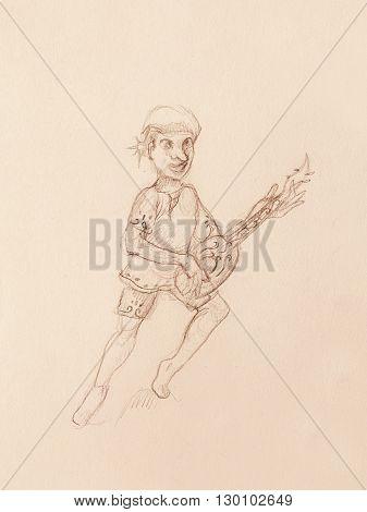 Man - Dwarf plaing lute. pencil sketch on paper. Original hand draw