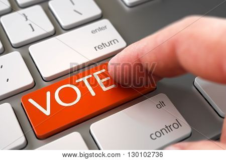 VOTE - Metallic Keyboard Concept. VOTE Concept - Modern Laptop Keyboard with VOTE Keypad. Man Finger Pressing VOTE Key on Laptop Keyboard. Computer User Presses VOTE Orange Key. 3D.