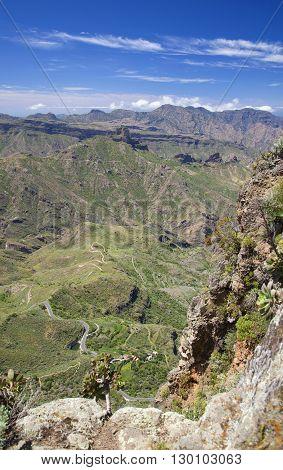 Gran Canaria, Vertiginous View Into Caldera De Tejeda