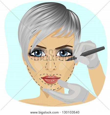 Guide lines for surgical incisions on a patient female face on white background
