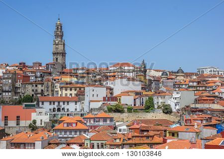 Porto Skyline With Rooftops And Church Tower