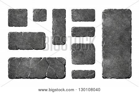 A set of realistic stone interface buttons and fantasy elements. Textured tablets and panels.