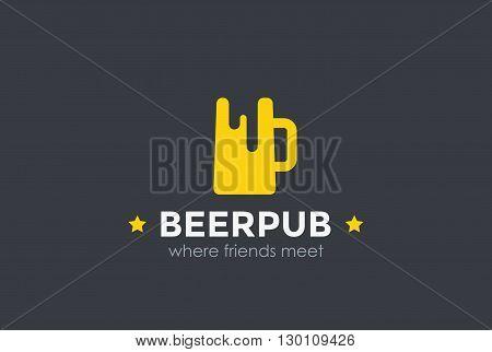 Beer Mug Silhouette Bar Pub Logo design vector Logotype icon