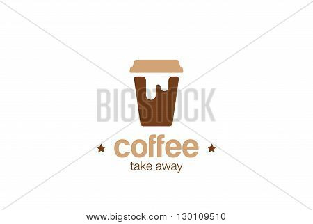 Coffee take away paper cup Logo vector Coffee-shop concept icon
