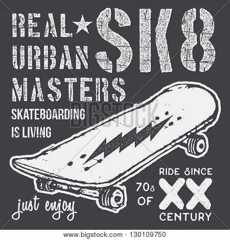 T-shirt Typography Design, Skateboard Printing Graphics, Typographic Skateboarding Vector Illustrati