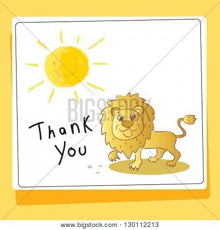 Kids thank you card vector illustration, lion.