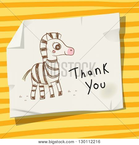 Kids thank you card vector illustration, zebra.
