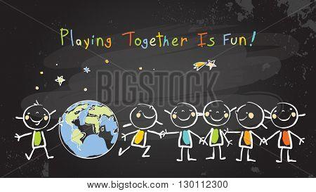 Children, group of kids, playing together. Vector illustration, chalk on blackboard doodle, hand drawn sketch, scribble.