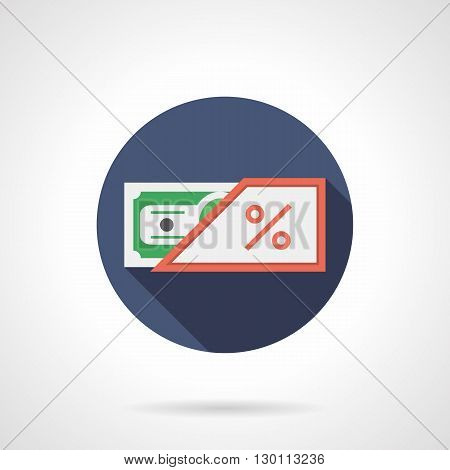 Green banknote in red envelope with percent sign. Payment with commission, online shopping. Round flat color style vector icon.