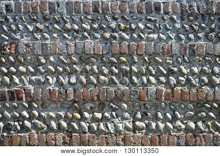 old brick and flint cobble wall Sussex