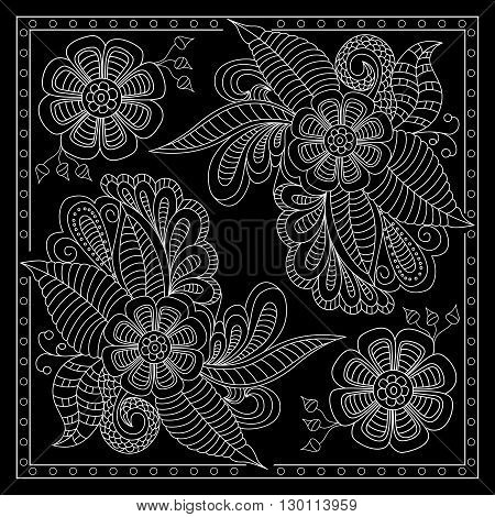 Black And White Abstract Bandana Print With  Fantasy Flower. Square Pattern Design For Pillow, Carpe