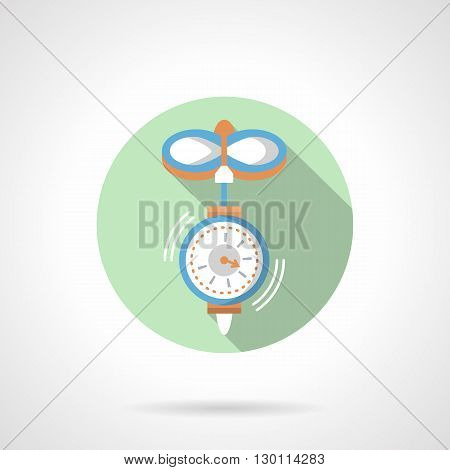 Blue hanging scales with long shadow. Instruments for measurement weight. Measuring mechanisms, household and industry equipment. Round flat color style vector icon.