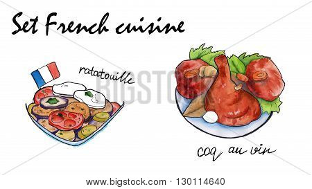Set sketches of French cuisine. coq an vin and ratatouille. isolated. watercolor