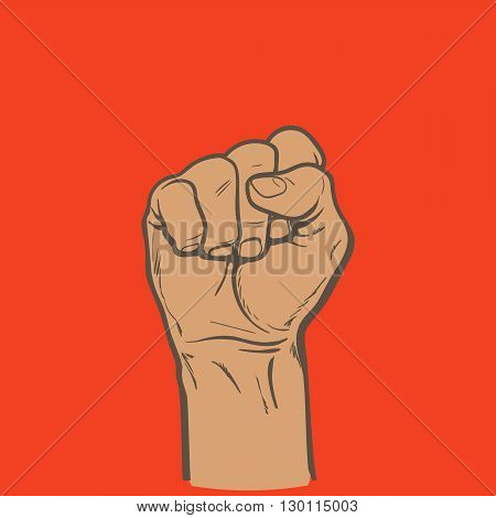 Raised fist. Strong fist on a red background. Mans hand. Male fist. Symbol of power and authority. Symbol of good luck and success. Fist icon.