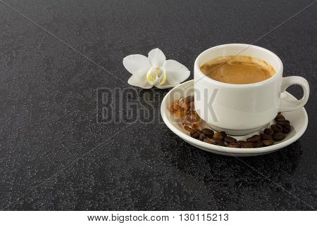Coffee mug on black background. Coffee cup. Cup of coffee. Strong coffee. Morning coffee. Coffee break. Coffee mug. Strong coffee.