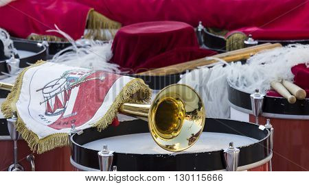 QUARTU S.E. ITALY - 2014 July 12: 28th parade Sciampitta - Sardinia - musical instruments used by the group of flag-wavers of Oristano.