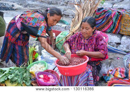 CHICHICASTENANGO GUSTEMALA APRIL 29 2016: Portrait of a Mayan woman. The Mayan people still make up a majority of the population in Guatemala,
