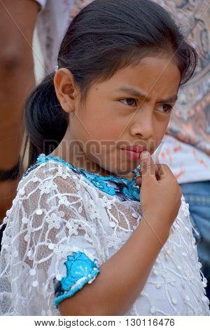 SANTA CRUZ GUATEMALA may 03 2016: Portrait of a Mayan child. The Mayan people still make up a majority of the population in Guatemala