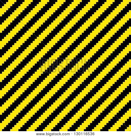 "Black and yellow diagonal warning stripes done in a pixel-art style. Seamless background tile. Each ""pixel"" is left as its own vector square for further editing"